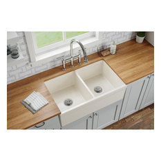 "SWUF32189BI Elkay Fireclay 33"" Double Bowl Farmhouse Sink, Biscuit"