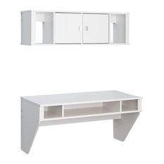 Prepac Furniture Designer Floating Desk And Hutch Set White Desks Hutches