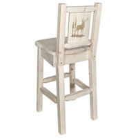 Homestead Bar Stool With Back, With Laser Engraved Elk, Clear Lacquer Finish, Re