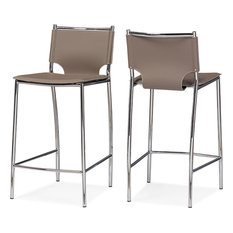 Montclare Modern Leather Counter Stools, Set of 2, Taupe