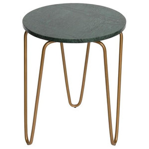 Cross Marble and Metal Side Table, Round, Green