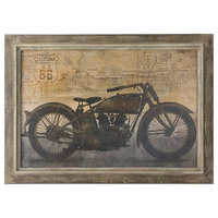 Motorcycle Oil Painting Man Cave Wall Art Decor Reproduction