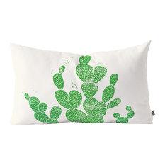 "Bianca Green Linocut Cacti 1 Family Oblong Throw Pillow, 23""x14"""