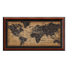 """Framed Art Print 'Old World Map' by Pela Studio, Outer Size 43""""x24"""""""