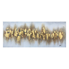 """Beaming Gold Flakes"" Hand Painted Canvas Art"