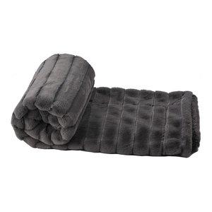 "Super Mink Faux Fur Throw Blanket, Charcoal, 50"" X 60"""
