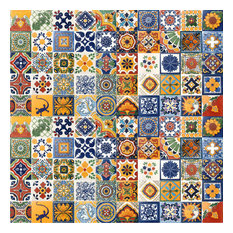 "4""x4"" Assorted Mexican Ceramic Handmade Designed Tiles, 100-Piece Set"