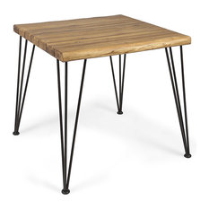 GDF Studio Audrey Indoor Acacia Wood Dining Table, Teak Finish/Rustic Metal