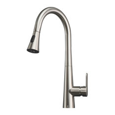 Furio Brass Kitchen Faucet W/ Pull Out Sprayer, Brushed Nickel