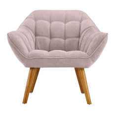 Sofamania   Mid Century Tufted Linen Accent Armchair, Pink   Armchairs And Accent  Chairs