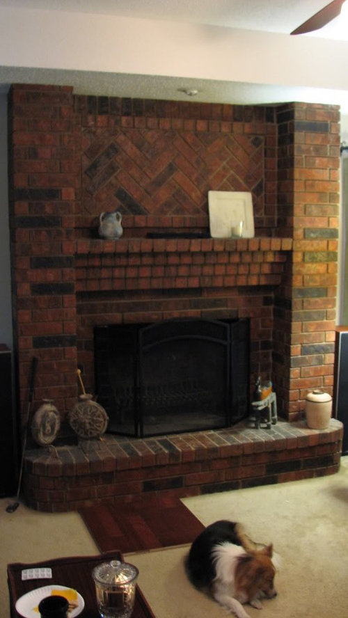 Large Red Brick Fireplace and wood floor choices