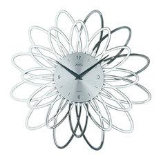 Belladonna Quartz Wall Clock, Silver