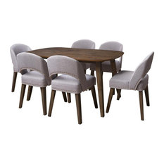 CorLiving Tiffany Gray Fabric And Dark Stained Wood Dining Set - 7pc