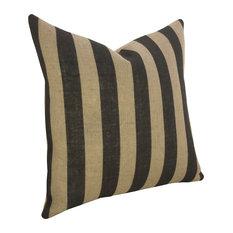 Vertical Stripe Burlap Pillow