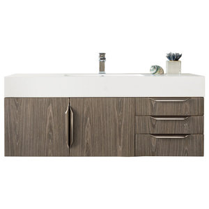 "Mercer Island 48"" Single Vanity Ash Gray w/ Glossy White Solid Surface Top"