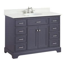 """Aria Bath Vanity, Base: Charcoal Gray, 48"""", Top: Quartz"""