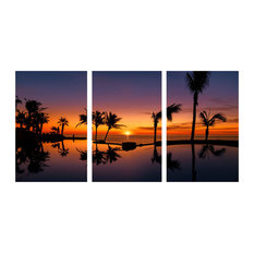3 Panel Art,Palm Trees and Beach Wall Decor Artwork, 36x20