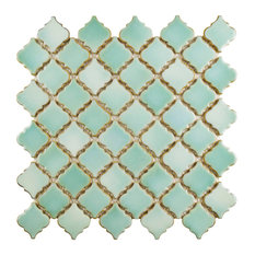 "12.38""x12.5"" Antaeus Mosaic Floor/Wall Tiles, Set of 10, Sea Green"