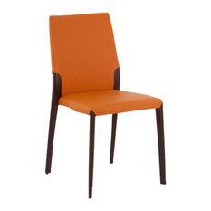Ypsilon Orange Leather Chairs, Set of 2