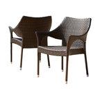 GDF Studio Del Mar Outdoor Brown Wicker Chairs, Set of 2