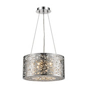 Round Contemporary 6-Light LED Chrome Finish Clear Crystal Chandelier