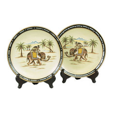 Pair of Elephant With Monkey Decorative Plates 10 Inch Diameter