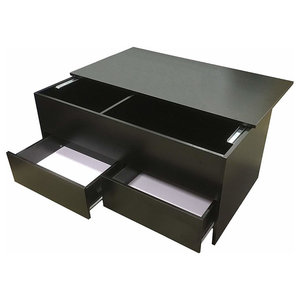 Modern Coffee Table in Black MDF with Slide Top and 2 Drawers