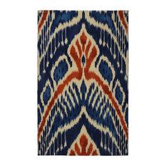 "Blue Crown Ikat Modern Bohemian Area Rug, 7'6""x9'6"""
