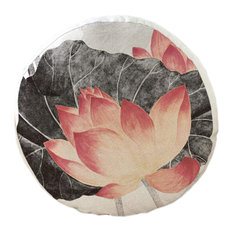 Chinese Lotus Pattern Round Cushion, Chair Cushion, Floor Cushion, Pillow No.2