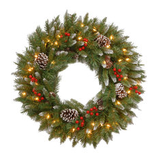 "National Tree Company - 24"" Frosted Berry Wreath With Clear Lights, 24"" - Wreaths and Garlands"