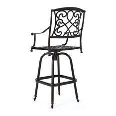 GDFStudio - Paris Copper Finish Cast Aluminum Swivel Single Bar Stool - Outdoor Bar Stools and Counter Stools