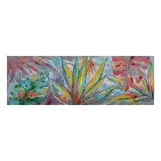 """Colorful Jungle Leaves"" Hand Painted Canvas Artwork; Fine Art; Modern"