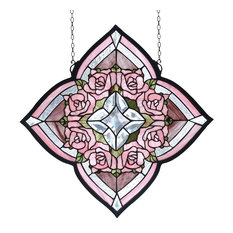 "Meyda 20""x20"" Ring of Roses Stained Glass Window"