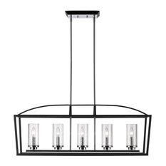 Mercer 5-Light Linear Pendant, Black, Seeded Glass
