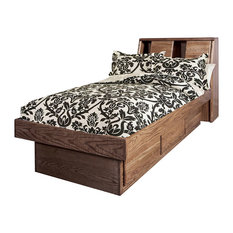 Bullnose Twin Platform Bed With Bookcase Headboard Twin Natural Alder