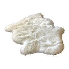 Super Soft Faux Sheepskin Silky Shag Rug, White, 2'x3'