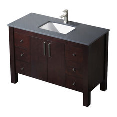 Vanity Parsons 49 with Quartz Sink, Chestnut, White Sink, White Countertop