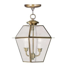 Westover Outdoor Chain-Hang Light, Antique Brass