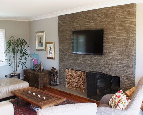 Inspiration For A Medium Sized Eclectic Open Plan Living Room In Auckland With Grey Walls