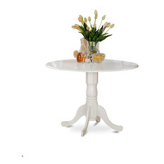 "Dublin Round Table With 2 9"" Drop Leaves, Linen White"