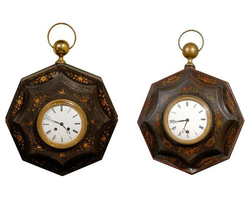two early 19th century directoire period painted tole clocks wall clocks