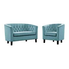Modway Prospect 2 Piece Velvet Loveseat And Armchair Set EEI-3154-SEA-SET