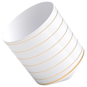 Coffee Afloat Porcelain Cup, Gold Swirl
