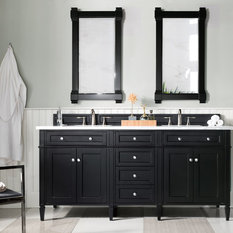 "Brittany 72"" Black Onyx Double Vanity w/ 3cm Carrara White Marble Top"