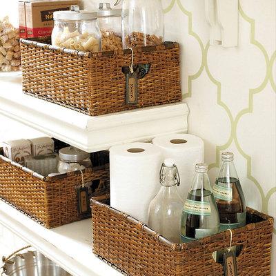 Traditional Baskets Rattan Utility Baskets - Set of 3
