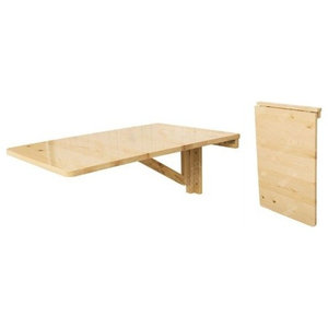 Folding Wall-mounted Table in Natural Wood, Drop-leaf Perfect for Space Saving