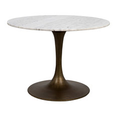 40-inch Dia. Dining Table Short Aged Brass Pedestal Base Solid Marble Stone Top
