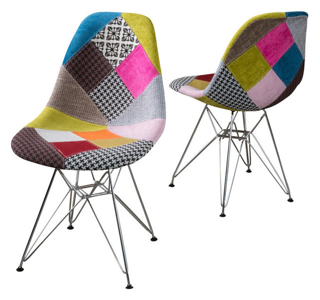 Amazing Cassius Multi Color Patchwork Fabric Chairs, Set Of 2