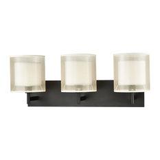 Art Deco 3 Light Vanity Light in Matte Black Finish