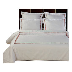 Amy 100% Cotton Embroidered Duvet Cover Set, White and Chocolate, Full/Queen